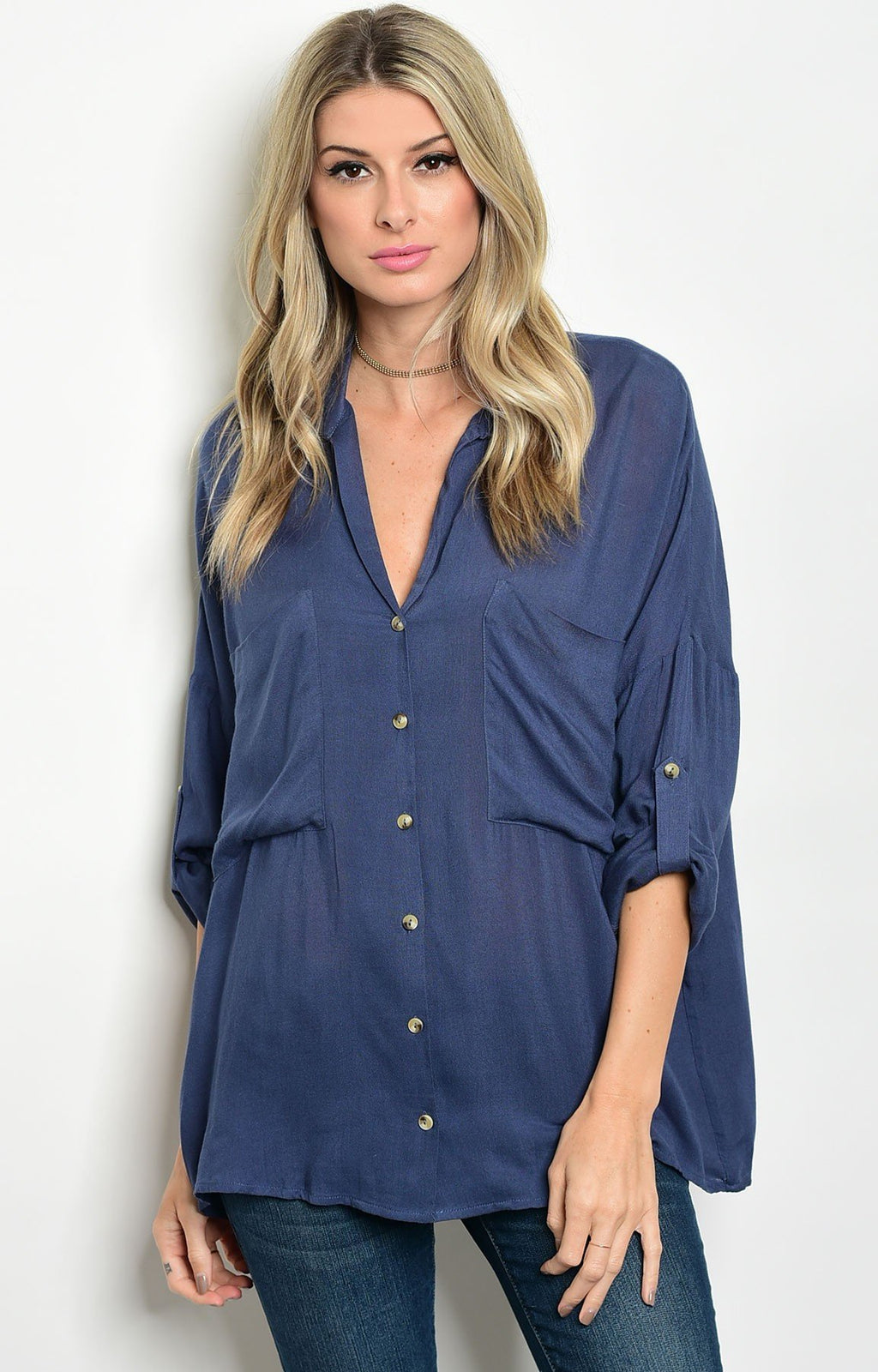 Lana Loose Fit Blouse in Navy