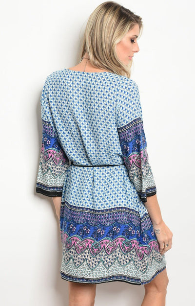 Allie shift dress in blue patterned print