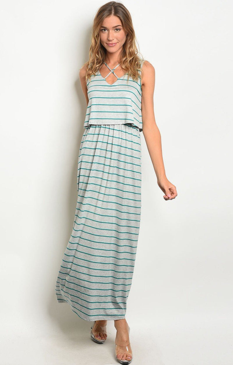 Belle Maxi Dress in Jade & Grey Stripes