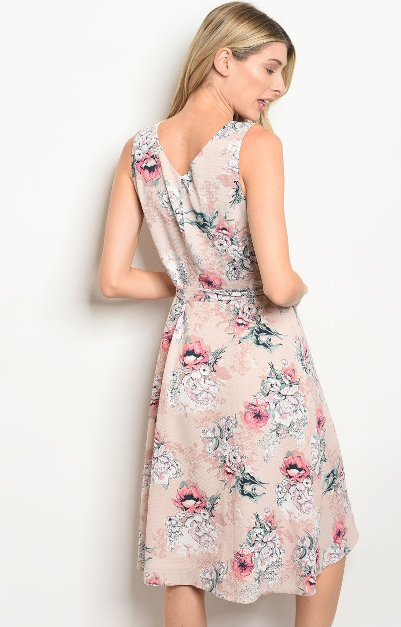Ellen Wrap Dress in Blush Floral