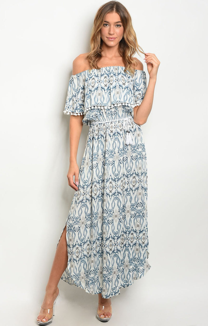 Jassie Dress in white & blue