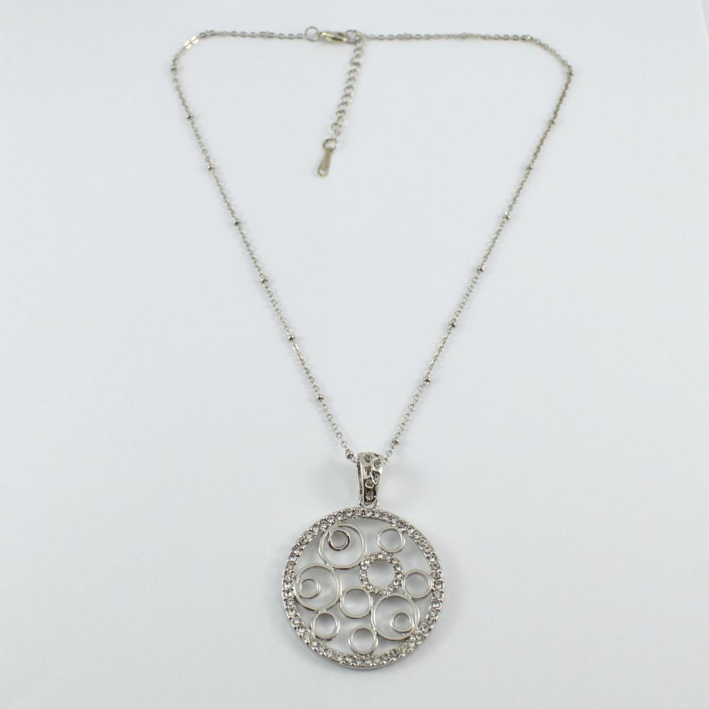 Silver Multi Circle Pendant with Diamonte