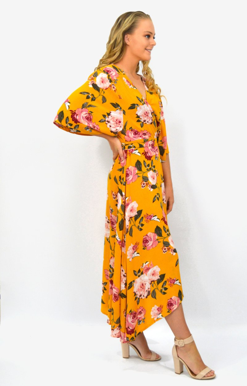 Honey Cross Over Dress in Mustard with Autumn Floral
