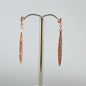 Rose Gold Drop Earrings with Diamonte