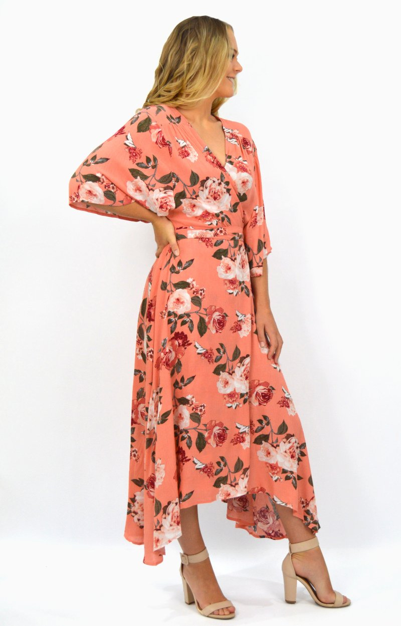 Honey Cross Over Dress in Peach with Autumn Floral
