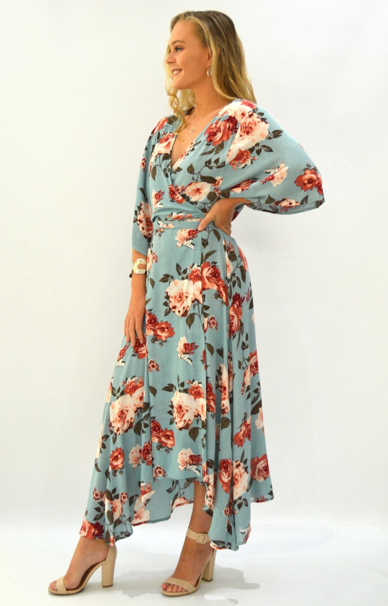 Honey Cross Over Dress in Aqua with Autumn Floral