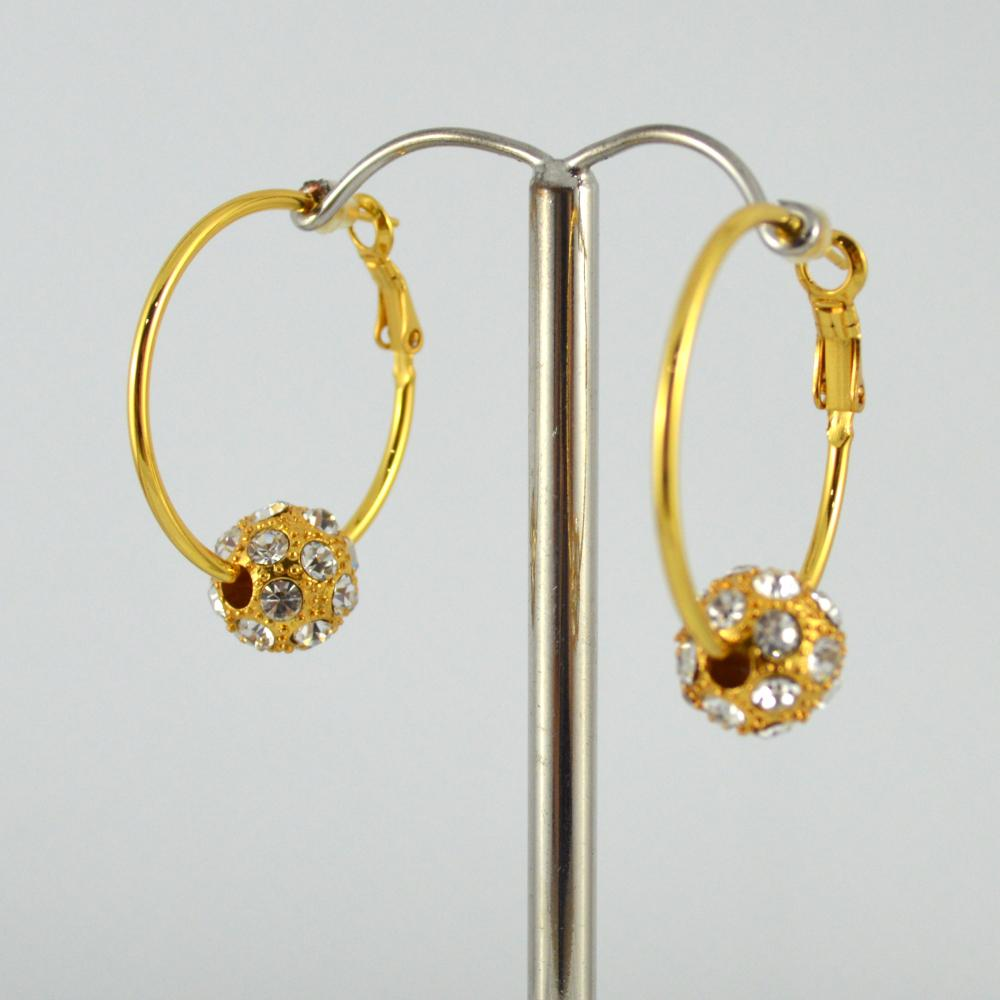 Gold Plated Hoop Earring with Shambala Ball
