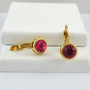 Gold with Pink Crystal Earrings