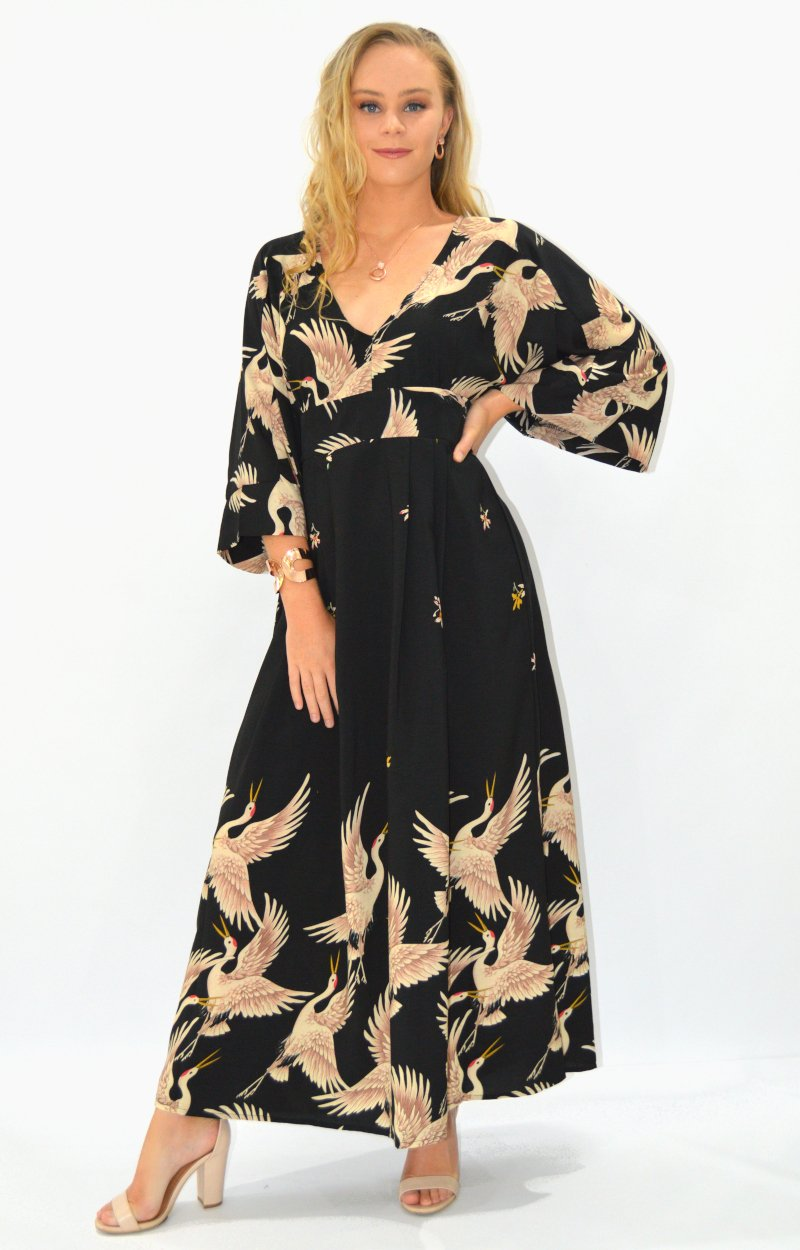 Talisha Dress in Black with Oriental Birds