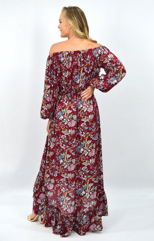 Emily OTS Dress in Burgundy Floral
