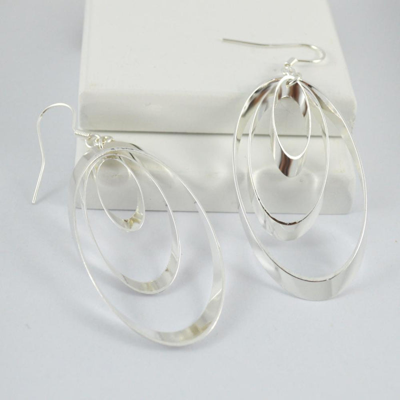 Silver Plated Triple Oval Earrings