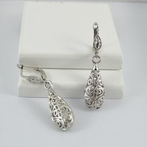 White Gold Plated Vintage Drop Earrings
