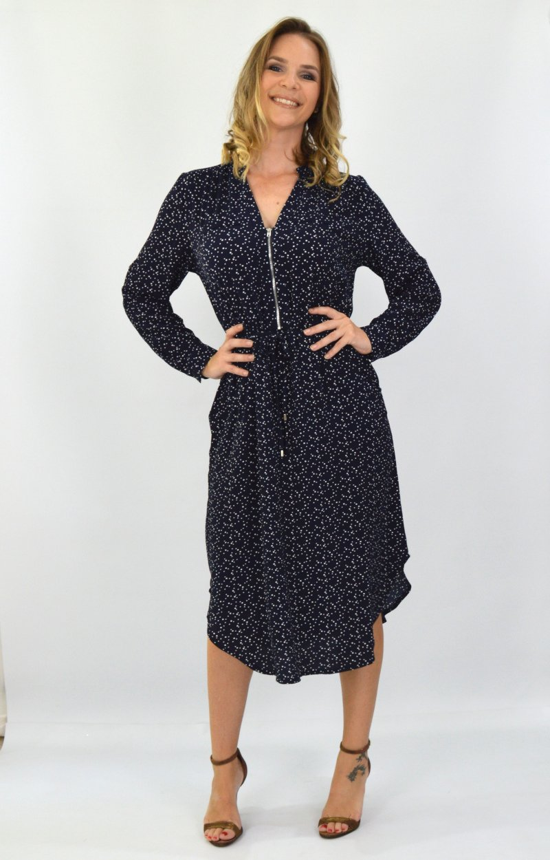 Alana Dress in Navy with White Spots