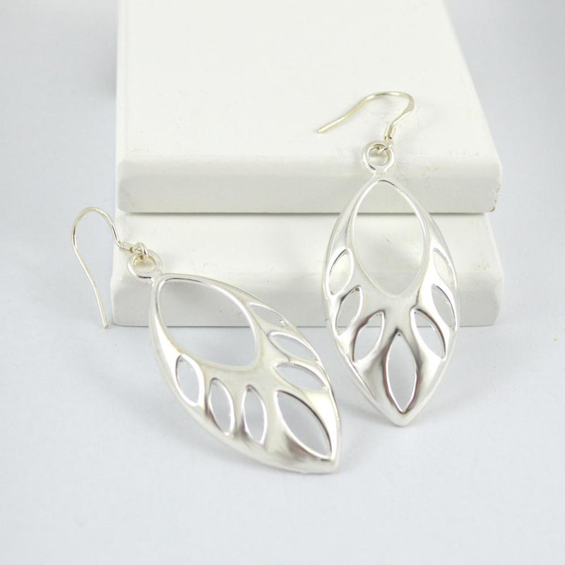 Silver Drop Earrings with cut out detail
