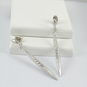 White Gold Plated Drop Earrings with Diamontes