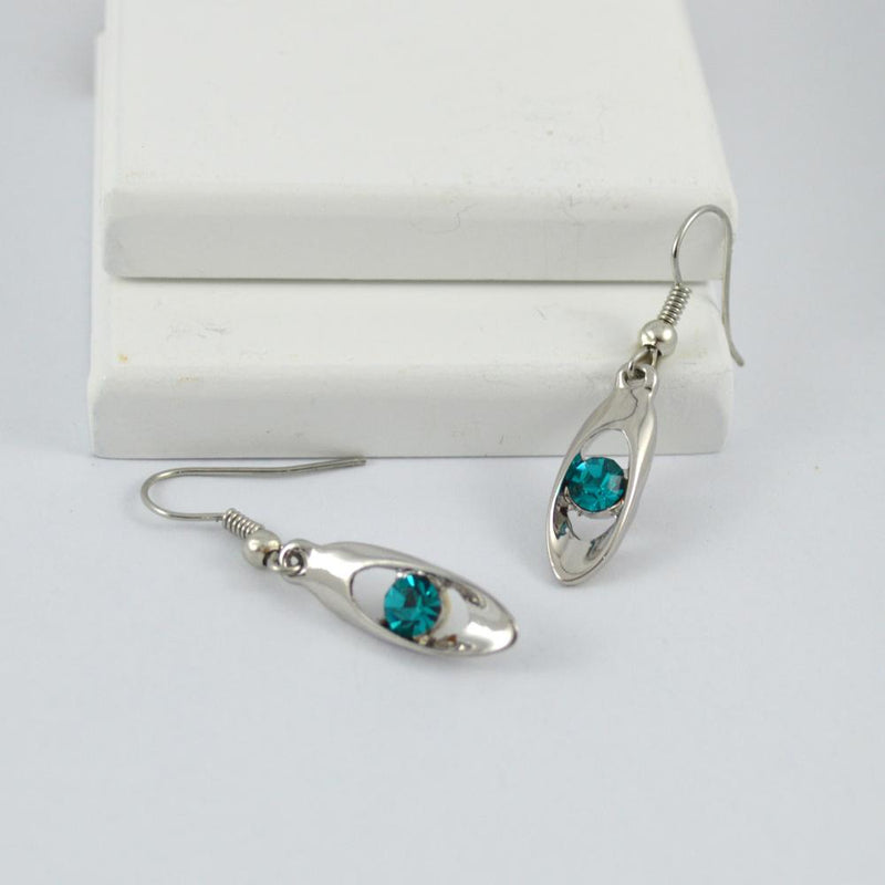 Silver Drop Earrings with Aqua Crystal