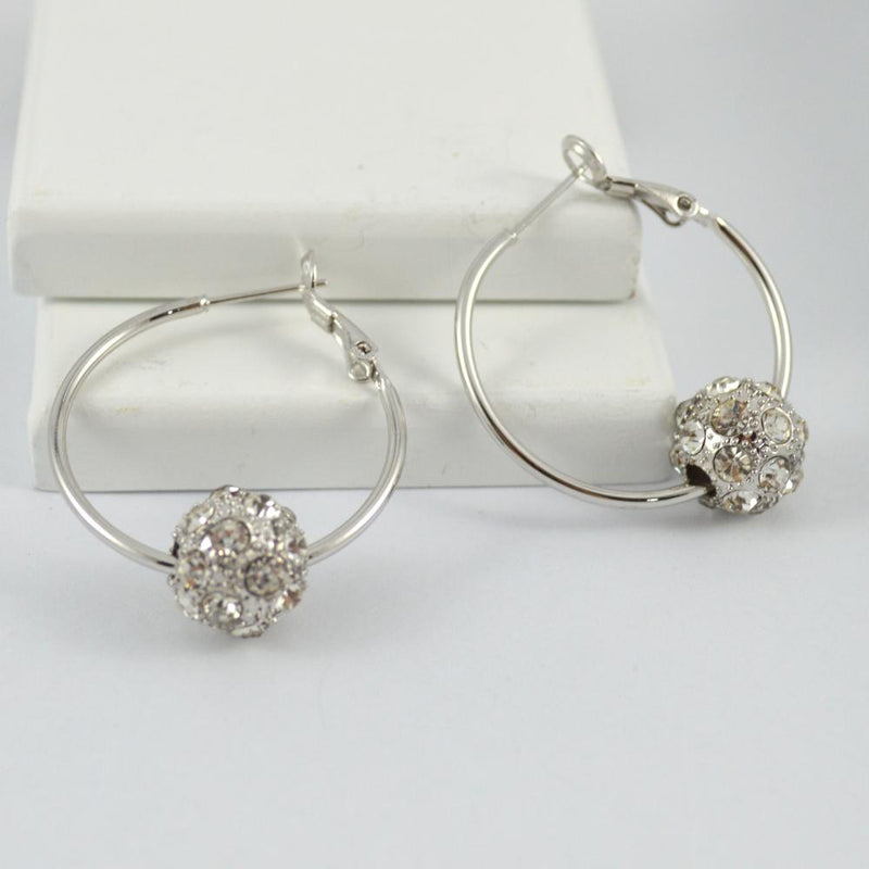 White Gold Plated Earring Hoops with Shambala Balls