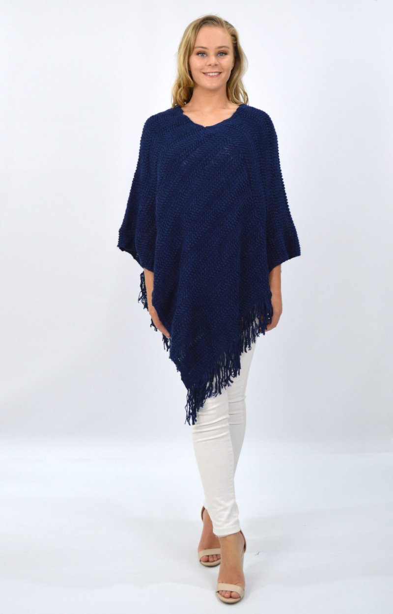 Aurora Poncho in Navy