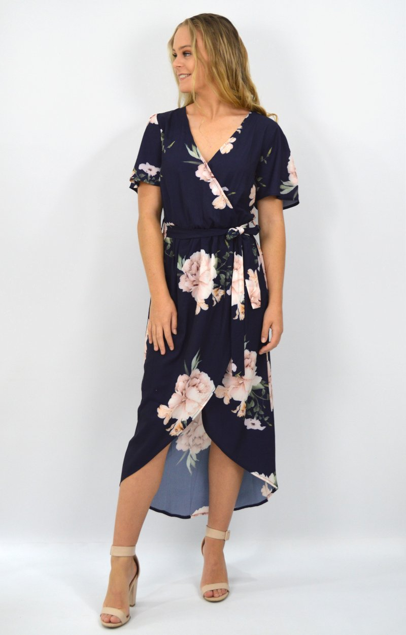 Zara Dress in Navy with vintage Floral