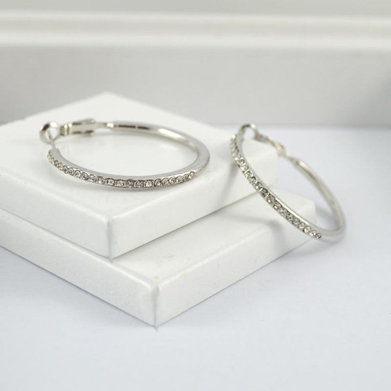 White Gold Plated Earring Hoops with Diamontes