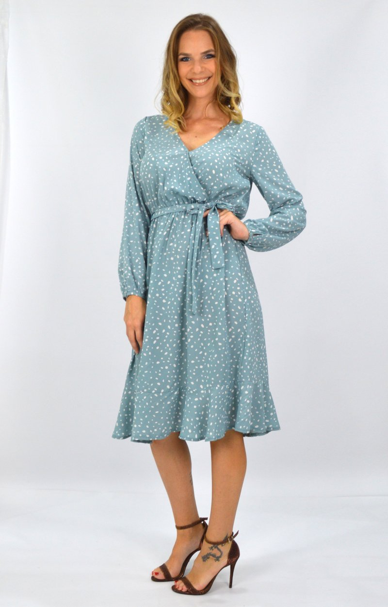 Anika Dress in Sage with White Spots