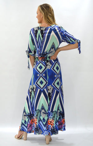 Valerie Dress in Blue Geometric with Orange Floral