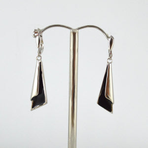 Silver and Black Drop Earrings