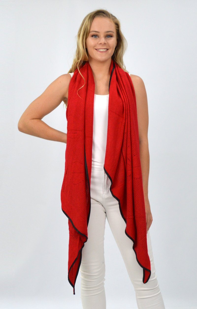 Red Scarf with Black Trim