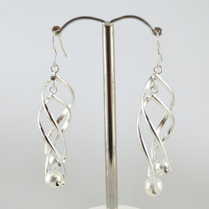 Silver Plated Twist Earrings with Silver Ball