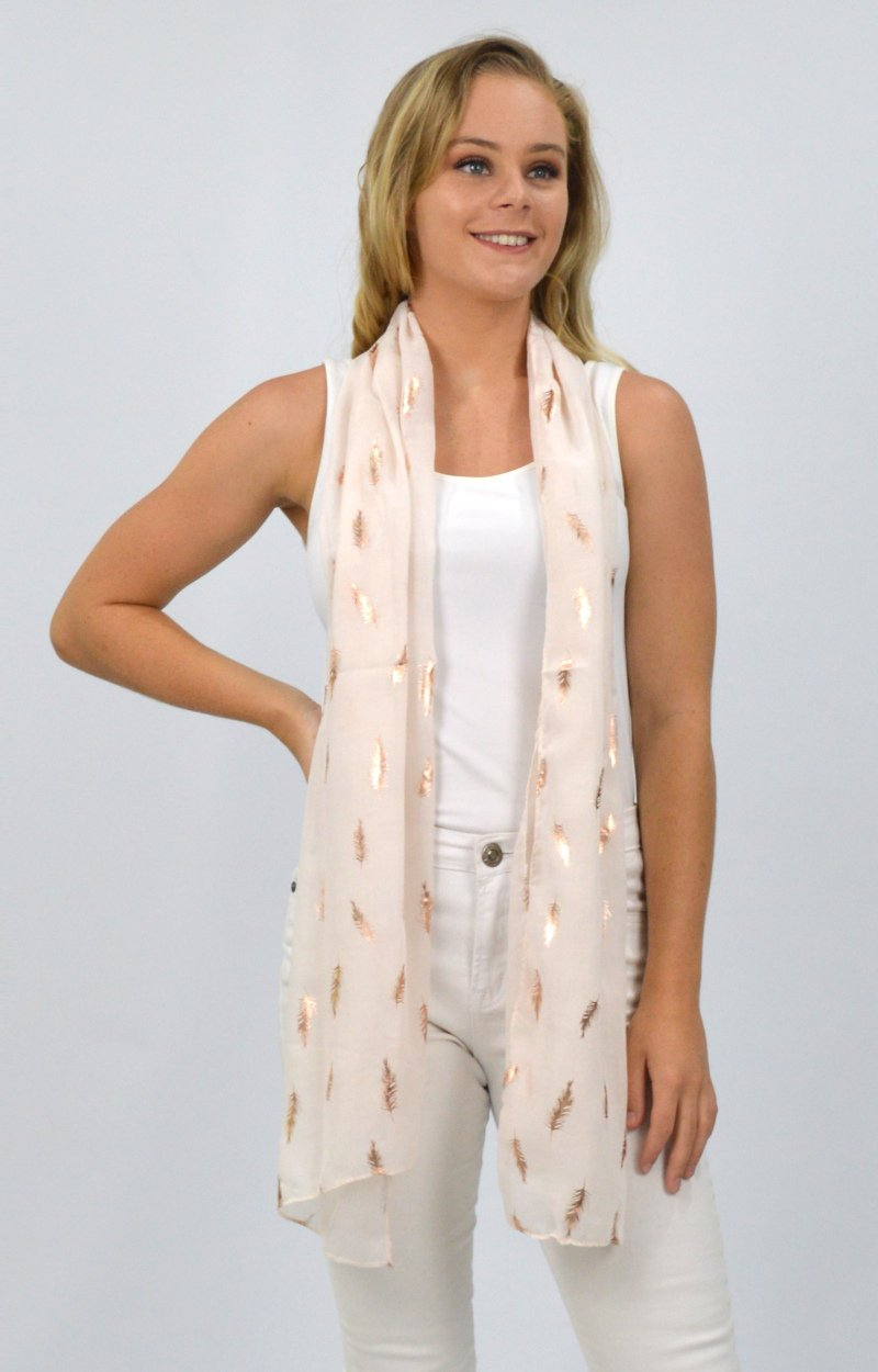 Beige Scarf with Rose Gold Fern Leaves