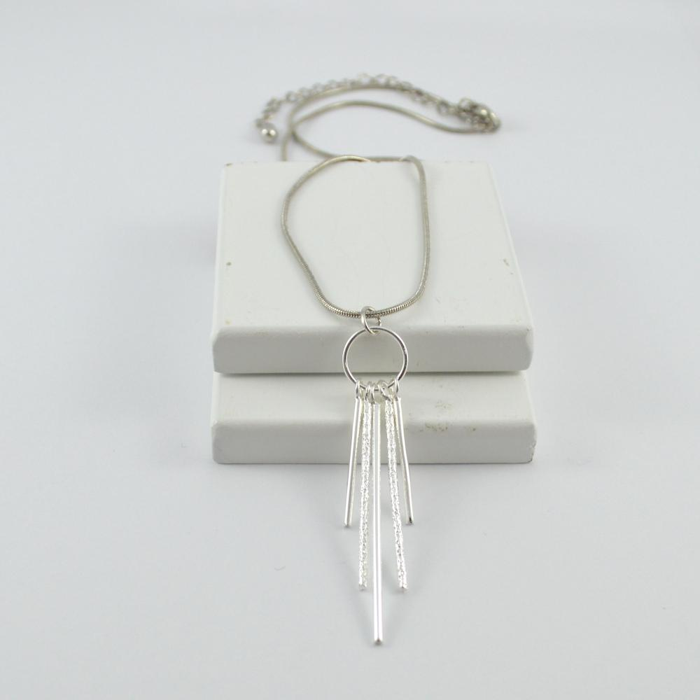 Silver Hanging Bars Drop Pendant