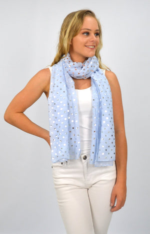 Blue Scarf with Silver and Rose Gold Spots