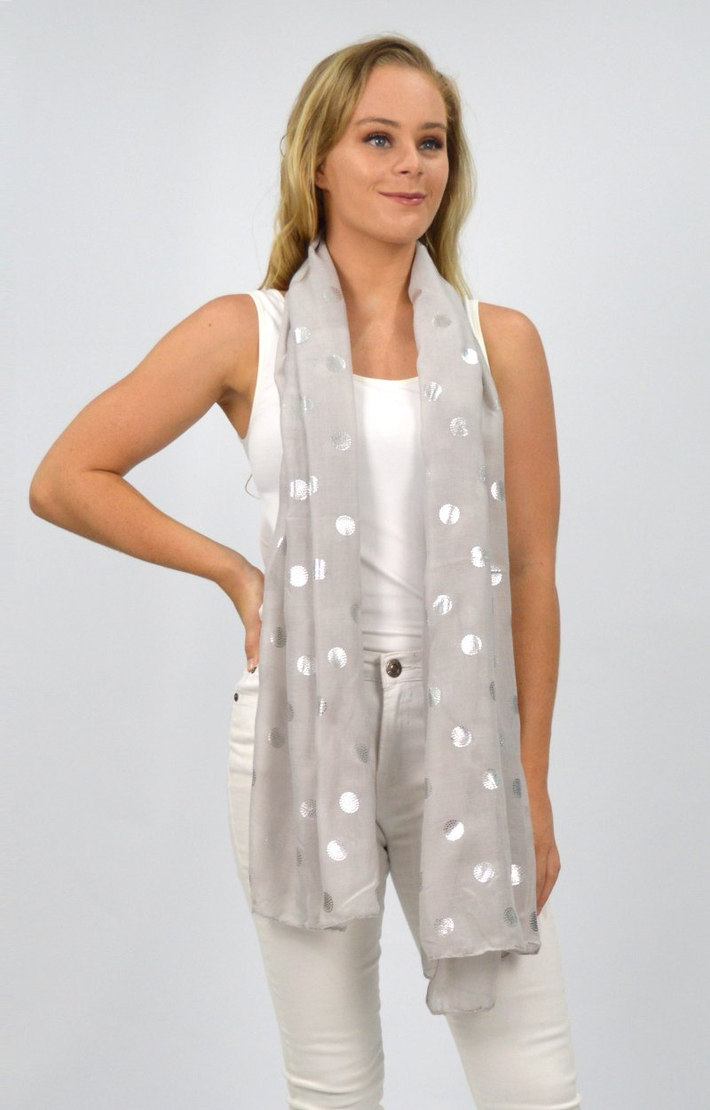 Grey Scarf with Silver Circles