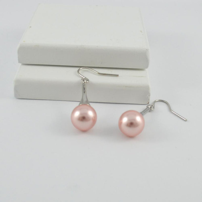 Silver Drop Earrings with Pink Pearl