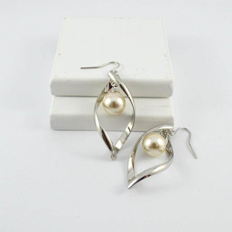 Silver Drop Twist Earrings with White Pearl