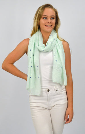 Green Scarf with Navy/Grey Spots and Silver Leaves