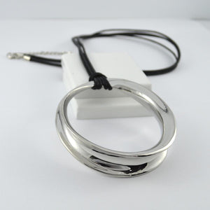 Long Round silver necklace