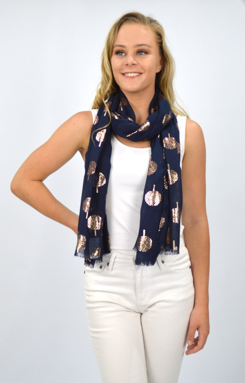 Navy Scarf with Rose Gold Tree of Life