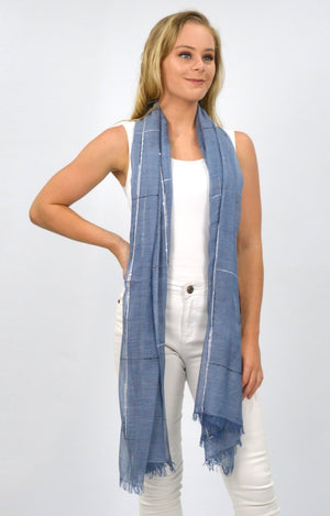 Marle Blue Scarf with Textured Lines