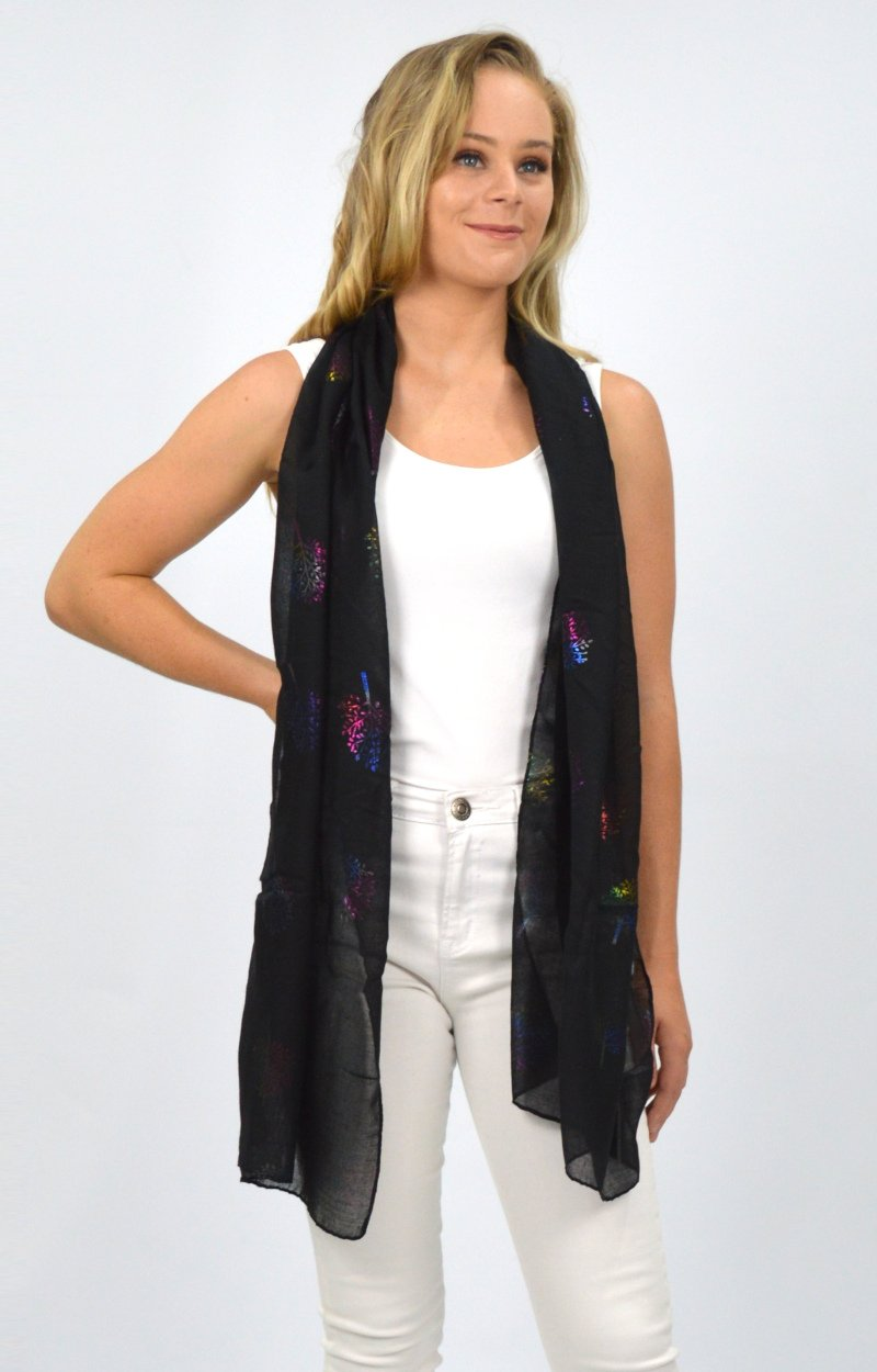 Black Scarf with Multi Coloured Tree of Life
