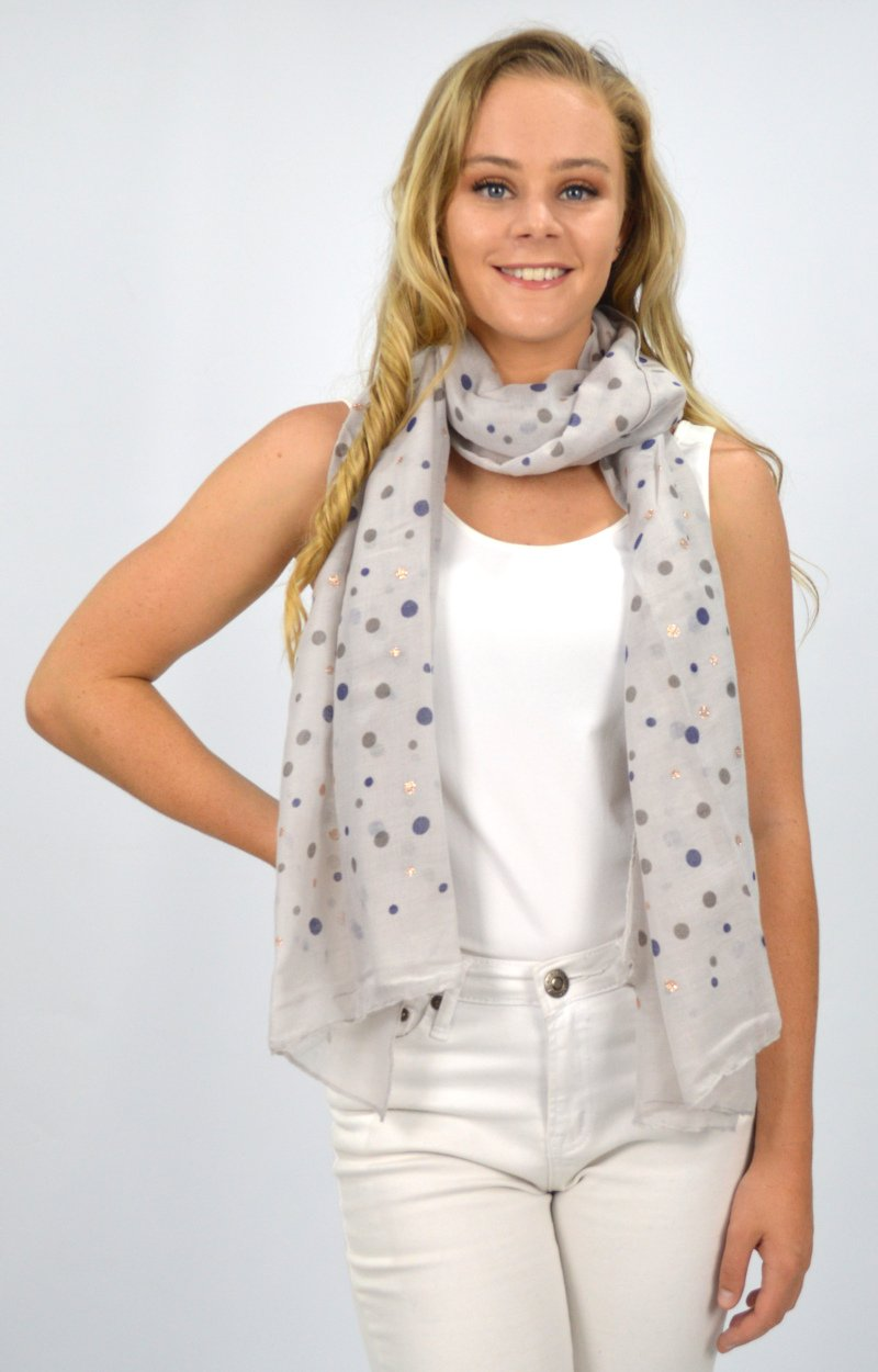Grey Spot with Rose Gold Scarf