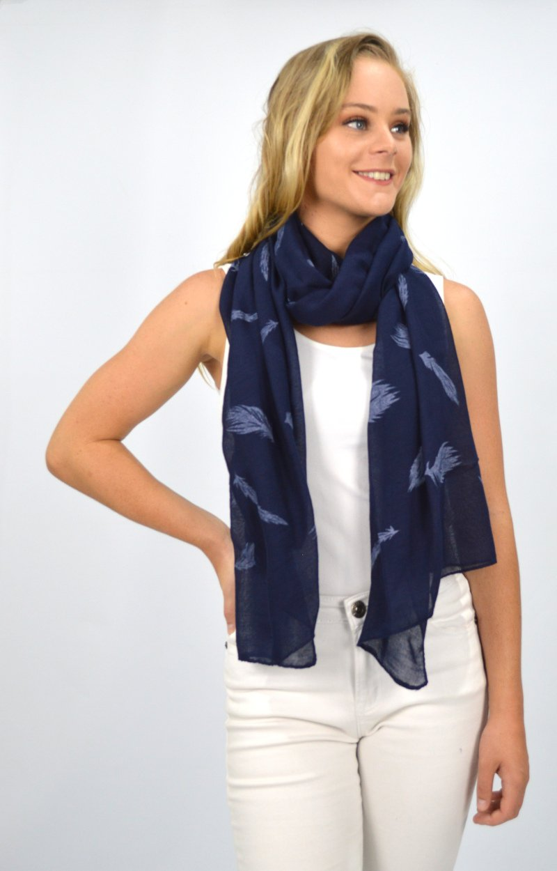 Navy Blue Scarf with White Feathers