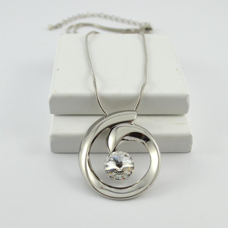 Silver Swirl Pendant with Crystal