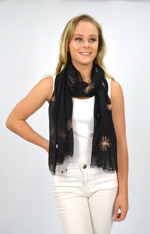 Black Scarf with Rose Gold Glitter Trim
