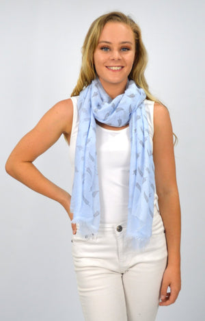 Blue Scarf with Fern Leaves