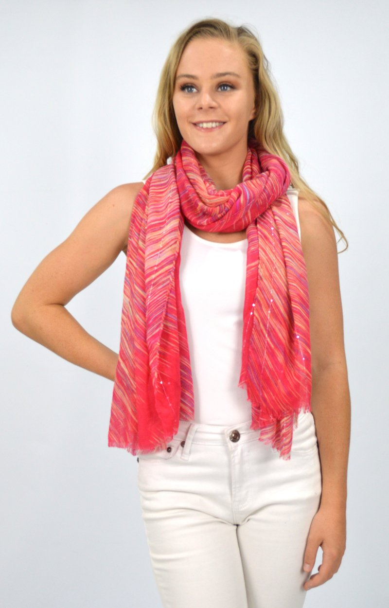 Coral Scarf with Multi Coloured Stripe