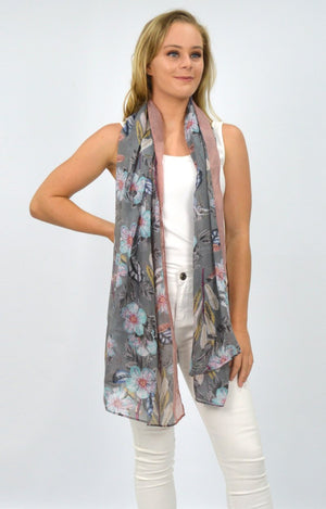 Grey/Brown Floral Scarf