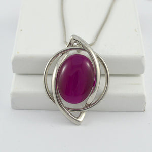 Mia Pendant in Silver with Fuscia Stone