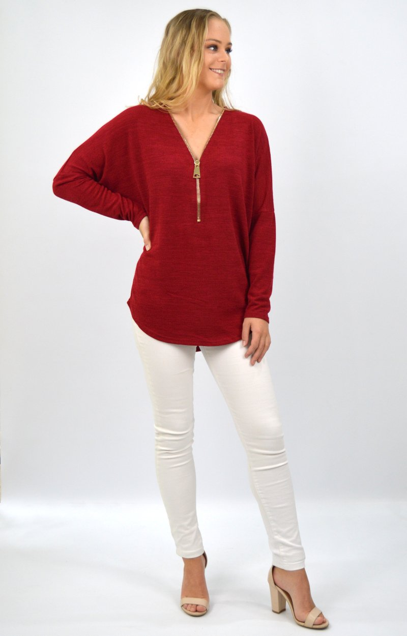 Dahlia Zip Front Top in Burgundy