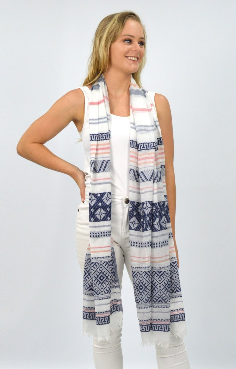 Navy/White Patterned Scarf